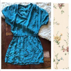 Tolani | Turquoise Silk Gathered Waist Tunic Dress